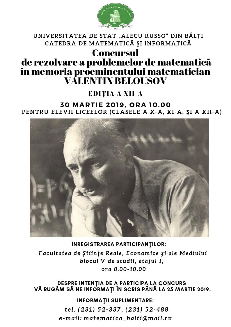 Concursul de rezolvare a problemelor de matematică în memoria proeminentului matematician VALENTIN BELOUSOV
