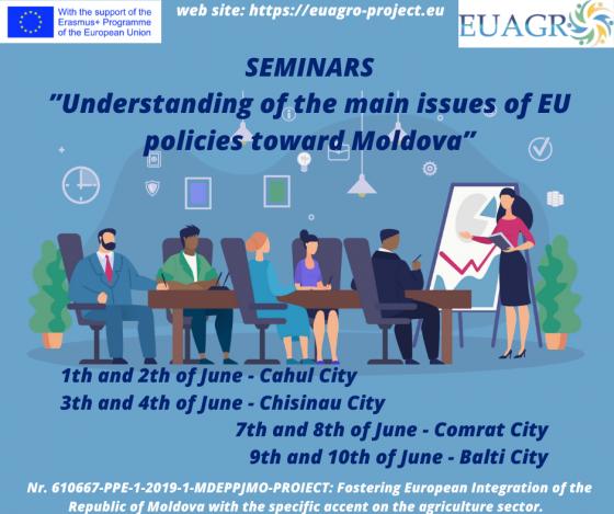 """Seminare de informare ,,Înțelegerea principalelor puncte ale politicilor UE față de Republica Moldova"""""""