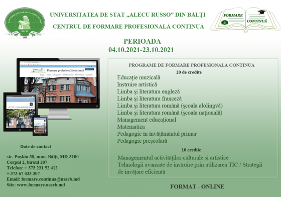 Programe de formare profesională continuă. Perioada 04.10.2021-23.10.2021