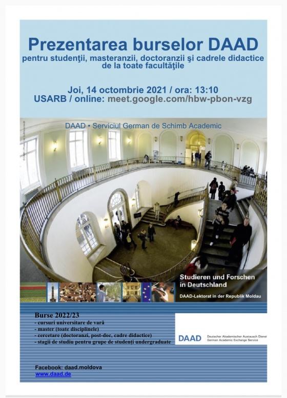 Prezentarea burselor DAAD pentru studenții, masteranzii, doctoranzii și cadrele didactice de la toate facultățile
